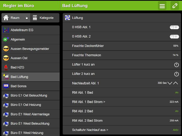 Loxone Steurung - Screenshot Lüftung