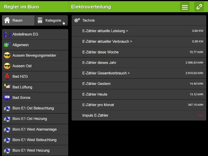 Loxone Steurung - Screenshot Stromzähler Verbrauchsstände