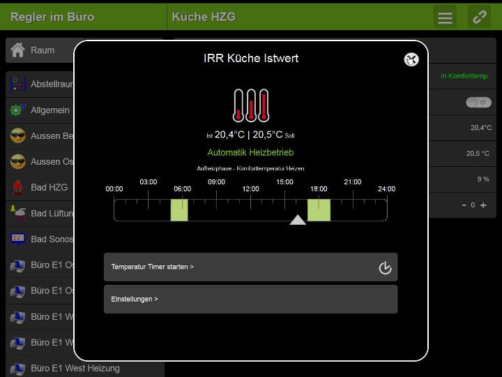 Loxone Steurung - Screenshot Automatik Heizbetrieb